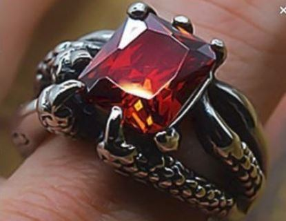 Dragon's Claw Ring .925 Sterling Silver Plated Crystal Ruby Zircon biker punk goth jewelry