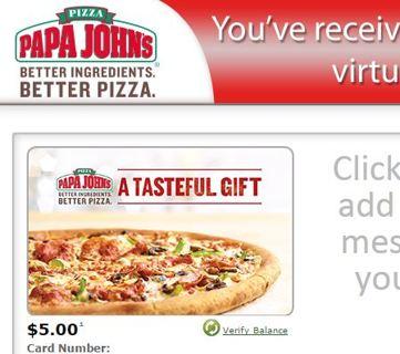 5 dollar Papa John's egift card