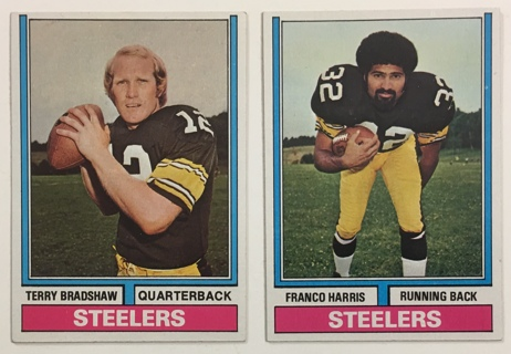 1974 Topps Franco Harris #220 and Terry Bradshaw #470 Pittsburgh Steelers Football Cards Lot of 2