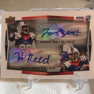 2015 Upper Deck USA Football Jackson Yost / Hunter Reed Autograph Card