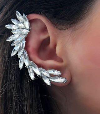 NEW Extravagant Rhinestone Ear Cuff Crystal Rhinestone Ear Cuff Elegant Wrapping Stud Clip Earring
