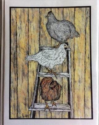 "Hens Roosting on a ladder! - 5 x 7"" Art Card by Nina  - GIN ONLY"