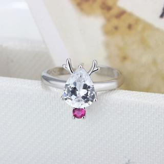 Pink AAA+ Austrian Crystal Women Rings 925 Sterling Silver Girl Pretty Deer Party Ring