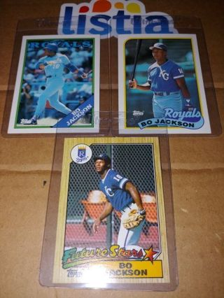 BO JACKSON⭐ROOKIE CARD⭐KANSAS CITY ROYALS⭐3 CARD LOT⭐TOPPS FUTURE STARS⭐FREE $HIPPING