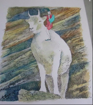 Beautiful ORIGINAL Pen and Ink Goat and Gnome or Fairy Art by Nina Struthers