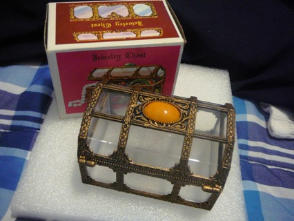 Unique Vintage Style Jewelry Box with Jewel on Top