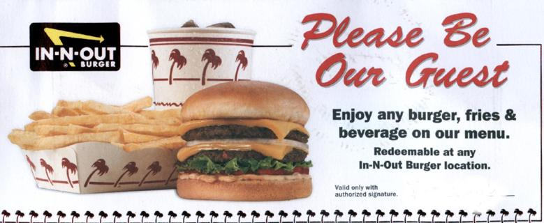 in and out burger gift card free in n out burger gift certificates 2 gift cards 7953