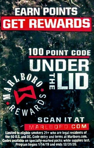 3 MARLBORO CODES=300 REWARDS POINTS