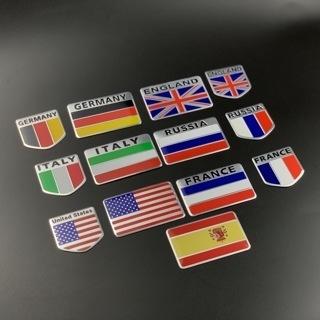 [GIN FOR FREE SHIPPING] Flag 3D Car Auto Decor Sticker Badge Emblem Adhesive Aluminium