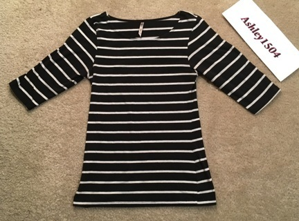 1 Heart & Hips Shirt 3/4 Sleeve Top Black White Striped Size (M)