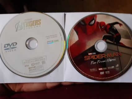 2 MARVEL MOVIES DVD DISC ONLY AVENGERS ENDGAME AND SPIDERMAN FAR FROM HOME
