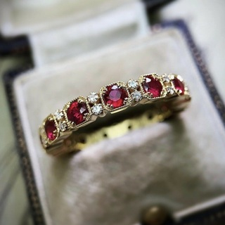 [GIN FOR FREE SHIPPING] Fashion 10KT Gold Filled Ruby & White Sapphire Ring