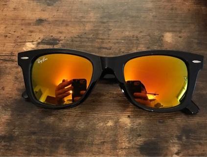 Black & Fire Mirror Rayban Wayfarer Sunglasses