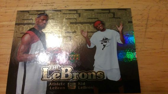 """LEBRON JAMES 2007 UPPER DECK """"THE LEBRONS"""" CARD W/ ATHLETE AND KID"""