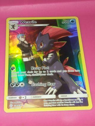 Secret Rare Holo Full Art Weavile 238/236 Cosmic Eclipse Pokemon Card NM-MINT