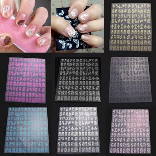 108pcs 3D Flower Design Nail Art Manicure Tips Stickers Decals DIY Decoration A6