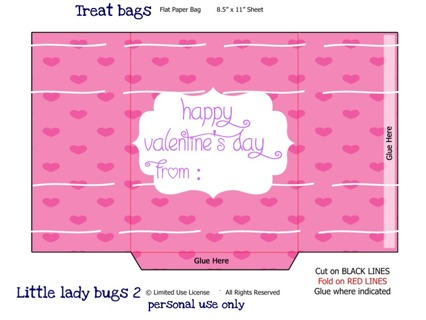 Pink Heart treat bag. DIY