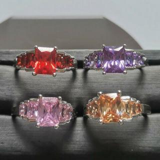 [GIN FOR FREE SHIPPING] Amethyst Morganite & Pink Topaz Garnet Wedding Silver Ring