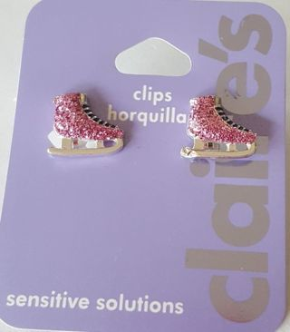 ** SPARKLING PINK ICE SKATING  ((CLIP-ON))  Earrings!!!