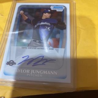 2011 bowman chrome 1st card Taylor jungmann authentic auto'd baseball card