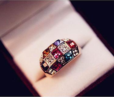 Size 8 Colorful Crystal Rhinestone Dazzling Finger Ring!