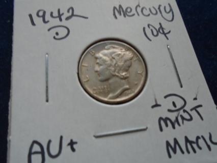 AU+ 1942-D MERCURY SILVER DIME -D- MINT MARK!