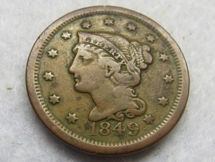 ★★ 1849 BRAIDED HAIR LARGE CENT ★★ **169 YEARS OLD**
