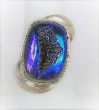 Beautiful Blue-Purple Druzy Ring Twist Modernist Band