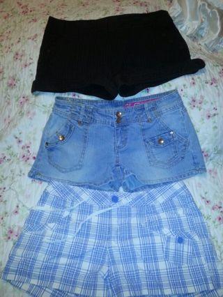 3 pairs of junior shorts size: 9 1denim & 2 pairs of cotton.