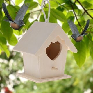 Bird Nest Natural Wood House DIY Creative Heart Shaped Parrot Parakeet Hanging