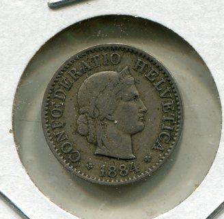 1884 B Switzerland 5 Rappen