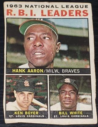 1964 Topps #11 1963 NL RBI Leaders Hank Aaron Ken Boyer Bill White