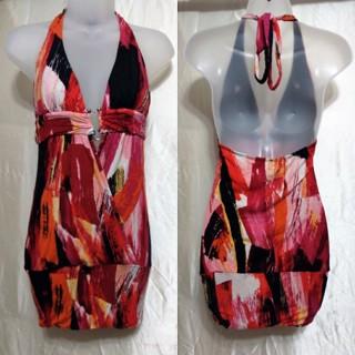 "Body Central~✳UNIQUE✳ Print DESIGN Deep Sexy V-NECK Silver ""U"" Ring STRETCHY Halter Rayon DRESS ~S-M"