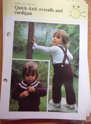 Quick Knit Cardigan & Overalls for kids, instruction card