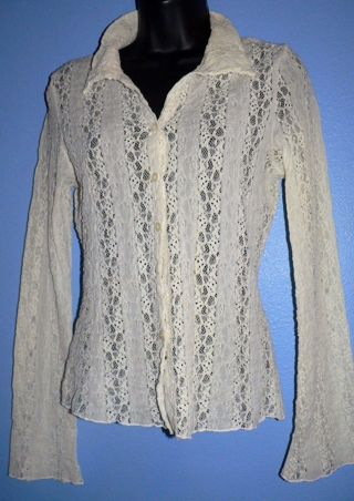 WHITE SEXY ALL Lacey Button Down CREAM Color Dress Shirt Sz LG Wide Sleeve MIMI