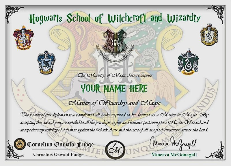 Free harry potterpersonalized hogwarts diploma other collectibles listiacom auctions for for Hogwarts diploma