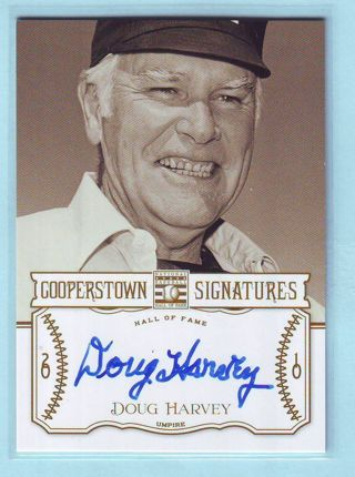 2013 Panini Cooperstown Doug Harvey Autograph Umpire NUMBERED 179/510 Baseball Card