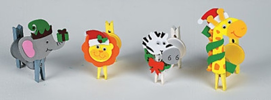 10-12 Holiday Herd Clothespin Ornament Craft Kit