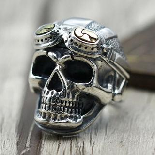 2020 Vintage Silver Skull Band Biker Cool Ring Size 5-13 x1