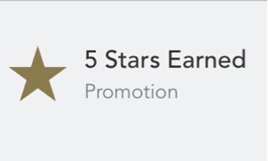 Starbucks star code (5 stars)