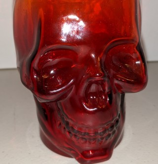 "Ashland glass drinking SKULL Halloween mug with screw-on top - 6"" tall - 16 oz.  orange smoked glass"
