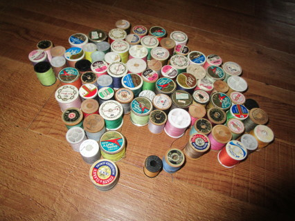 81 spools of different brands of thread