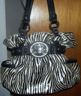 Gorgeous Authentic White Black Zebra Print Kathy Van Zeeland Satchel Handbag Purse