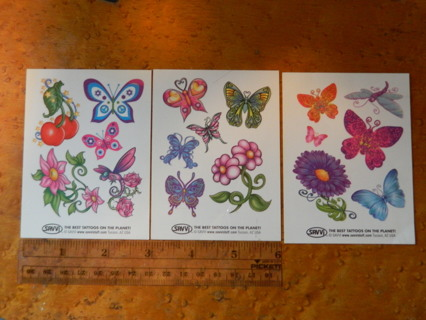 3 Sheets Butterfly & Flowers Temporary TATTOOS - SAVVJ The Best Tattoos - FREE Shipping!