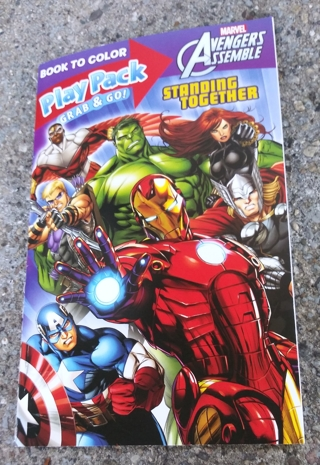 MARVEL AVENGERS SMALL COLORING BOOK AND ACTIVITY PAGES WITH STICKERS USE YOUR OWN CRAYONS
