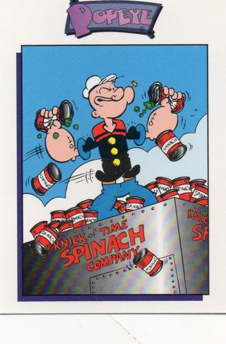 1994 Popeye Comics Collectible Trade card: Nick of Time Spinach Company