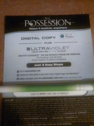 The Possession digital HD copy (code works for both iTunes and UltraViolet)