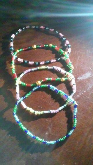 4 Handmade Beaded Stretchy Bracelets