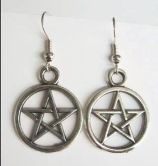 NEW Stunning PENTAGRAM STAR EARRINGS SILVER TONE Pagan Wicca Witch Witchcraft Dangle Earring