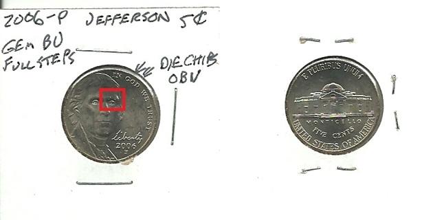 Free: GEM BU 2006 P Jefferson Nickel Multiple Die Chip